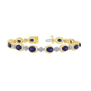 Sapphire and 0.33 CT.T.W. Diamond Bracelet in 14K Gold