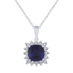 2.50 CT. T.W. Sapphire And 1/10 CT. T.W. Diamond Pendant In 14K Gold
