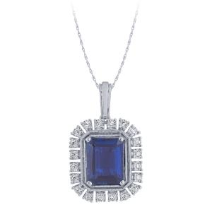 2.12 CT. T.W. Sapphire And 1/10 CT. T.W. Diamond Pendant In 14K Gold