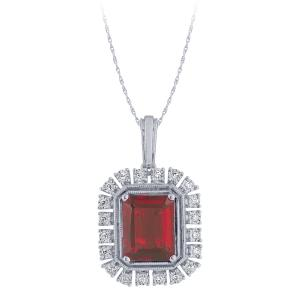 3.70 CT. T.W. Ruby And 1/10 CT. T.W. Diamond Pendant In 14K Gold