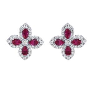 2.18 CT. T.W. Ruby And 2/5 CT. T.W. Diamond Earrings In 14K Gold