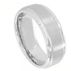 Cobalt Flat Brushed Center Polished Shiny Edge - 9MM Band