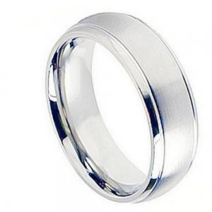 Cobalt Brushed Center Shiny Grooved Edge - 8MM Band