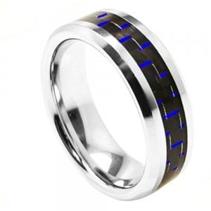 Cobalt High Polished Beveled Edge with Blue Carbon Fiber Inlay - 8MM Band