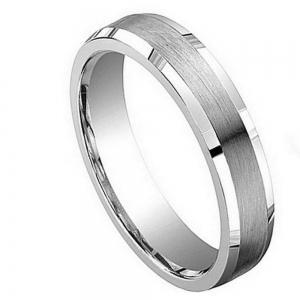 Cobalt Brushed Center with Shiny & Beveled Edge - 5MM Band