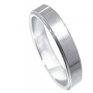 Cobalt Flat Brushed Center Polished Shiny Edge - 5MM Band