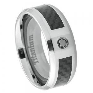 Titanium Black Carbon Fiber Inlay with 0.07ct & Black Diamond center stone - 8MM Band