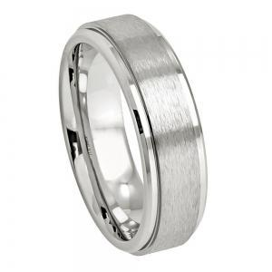 Cobalt Brushed Center High Polished Stepped Edge - 7MM Band