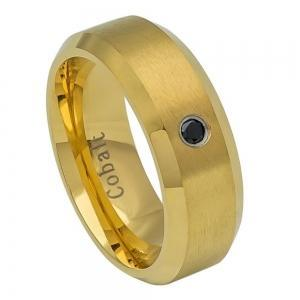 Cobalt Black Yellow Gold Plated Brushed Center, High Polished Beveled Edge with 0.07ct & BLACK Diamond Center - 8MM Band