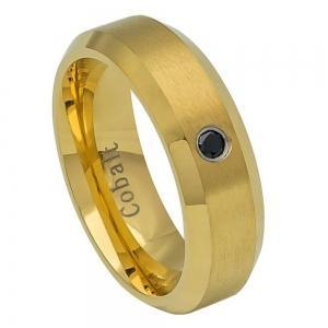 Cobalt Black Yellow Gold Plated Brushed Center, High Polished Beveled Edge with 0.07ct & BLACK Diamond Center- 6MM Band