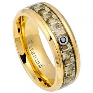 High Polished Yellow Gold IP Titanium with Golden Carbon Fiber Inlay & 0.07ct & Black Diamond Center - 8MM Band
