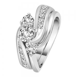 2 CT. T.W. Diamond Three Stone Curve Bridal Set in 14K Gold
