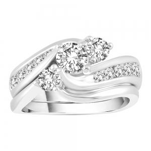 1/2 Ct. T.w. Diamond Three Stone Curve Bridal Set In 14k Gold