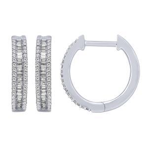 0.38 CT. T.W. Diamond Hoop Earrings In 10K Gold