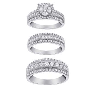 3 CT. T.W. Diamond Trio Set in 14K Gold
