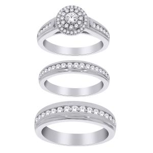 1.60 CT. T.W. Diamond Trio Set in 14K Gold