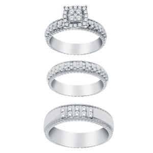 1 CT. T.W. Diamond Trio Set in 14K Gold