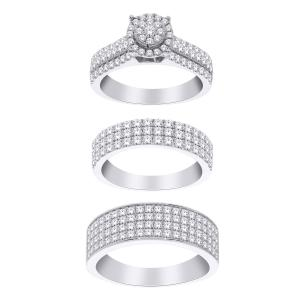 2.65 Ct. T.w. Diamond Trio Set In 14k Gold