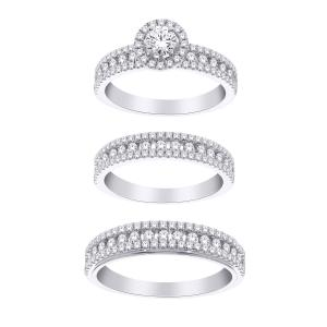 2 Ct. T.w. Diamond Trio Set In 14k Gold
