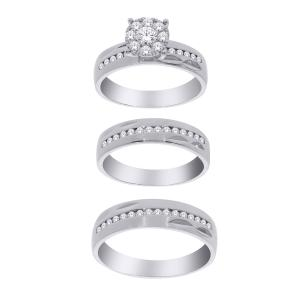 3/4 Ct. T.w. Diamond Trio Set In 14k Gold