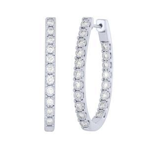 Diani® Collection 2 CT. T.W.  Diamond Inside-Out Hoop Earrings In 14K Gold