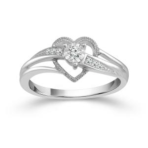 1/10 CT. T.W. Diamond Heart Promise Ring In 14K Gold