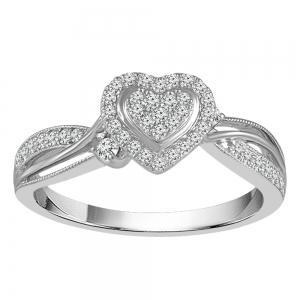 1/4 CT.TW. Diamond Heart Promise Ring in 14K Gold