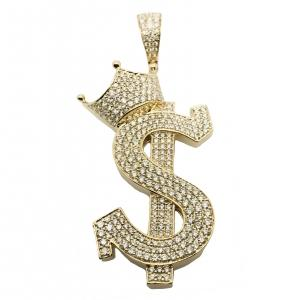 4.38 CT. TW. (VVS-VS CLARITY) DIAMONDS CROWNED DOLLAR PENDANT IN 14KT YELLOW GOLD (VVS - VS DIAMONDS)