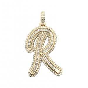 4.65 CT. TW. (VVS-VS CLARITY) DIAMONDS LETTER R INITIAL PENDANT IN 14KT YELLOW GOLD (VVS - VS CLARITY)