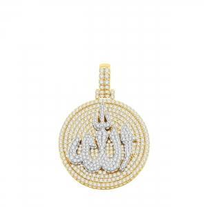 6.67 CT. TW. (VVS-VS CLARITY) DIAMONDS ALLAH PENDANT IN 14KT YELLOW GOLD