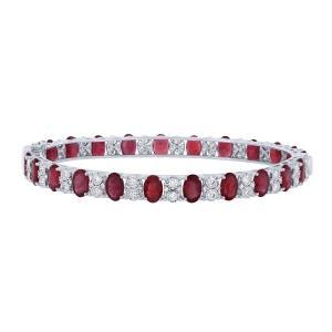 1.5CT. T.W. DIAMOND RUBY 16.35CT BANGLE IN 14K GOLD