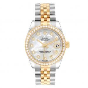 Pre-owned Rolex 26mm Datejust Two Tone With Diamond Bezel & Mother Of Pearl Diamond Dial