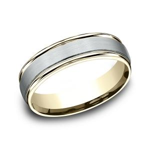 Two Tone Comfort-Fit Design Wedding Ring in Multi-Gold (6 mm)