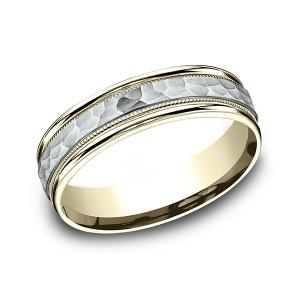 Two Tone Comfort-Fit Design Wedding Band in Multi-Gold (6 mm)