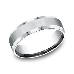 Comfort-Fit Design Wedding Band in 14K White Gold (6 mm)