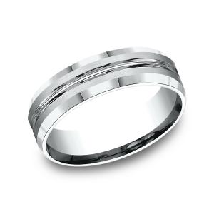 Comfort-Fit Design Wedding Ring in 14K White Gold (6 mm)