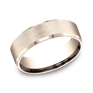 Comfort-Fit Design Wedding Band in 14K Rose Gold (7 mm)