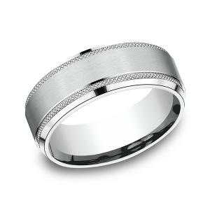 Comfort-Fit Design Wedding Band in 14K White Gold (8 mm)