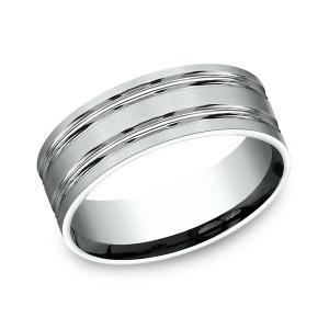 Comfort-Fit Design Wedding Ring in 14K White Gold (8 mm)