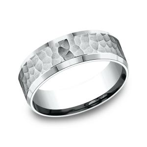 Comfort-Fit Design Wedding Ring in 14K White Gold (7.5 mm)