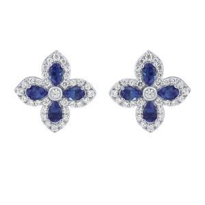 0.45 CT. T.W. Diamond and 13.50 CT Sapphire Earrings In 14K Gold