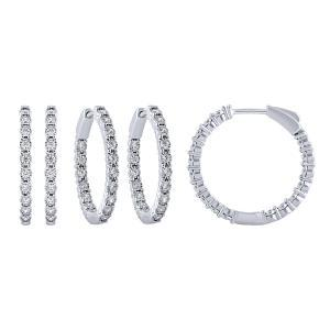1/2 CT. T.W. Diamond Double Vision Hoop Earrings In 14K Gold