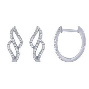 0.20 CT. T.W. Diamond Hoop Earrings In 14K Gold