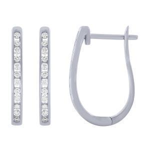 0.25 CT. T.W. Diamond Hoop earrings In 14K Gold