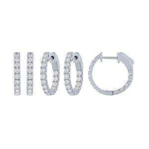 1.00 CT. T.W. Double Vision Diamond Hoop Earrings In 14K Gold
