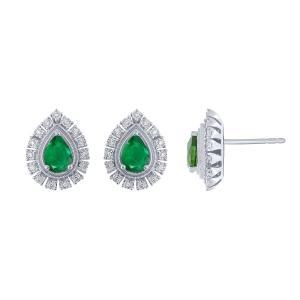0.15CT. T.W. DIAMOND 1.10 CT EMERALD EARRINGS IN 14K GOLD