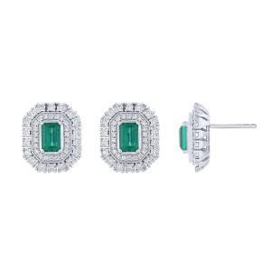 0.33CT. T.W. DIAMOND 1.10 CT EMERALD EARRINGS IN 14K GOLD