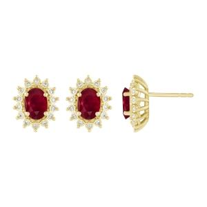 0.1CT. T.W. DIAMOND 2.33 CT RUBY EARRINGS IN 14K GOLD