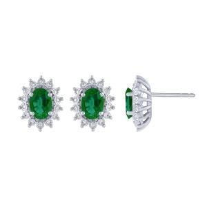 0.1CT. T.W. DIAMOND 1.50 CT EMERALD EARRINGS IN 14K GOLD