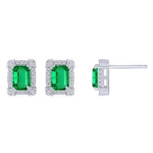 1/4 CT. T.W. Diamond and 1.90 CT Emerald Earrings In 14K Gold